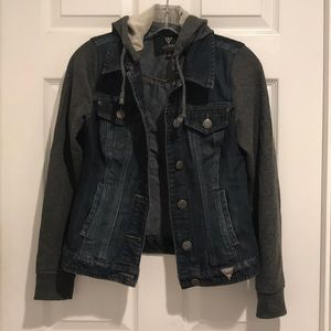 Hooded denim jacket by guess